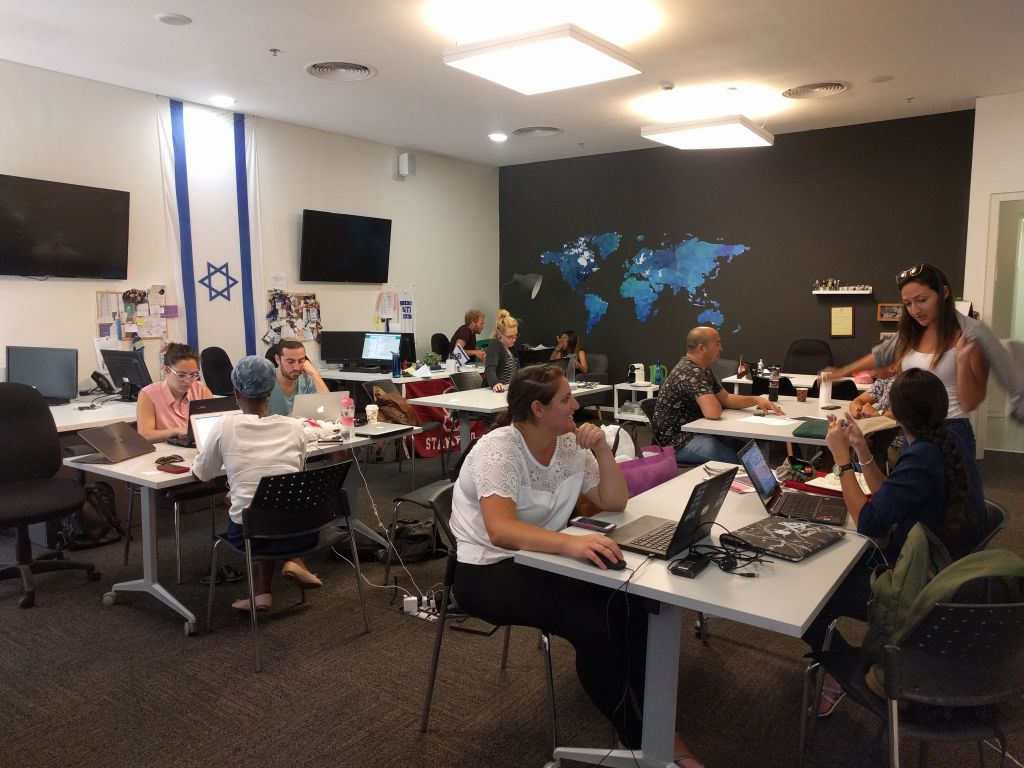 The staff and interns hard at work at Act.IL in Herzliya. (Times of Israel)