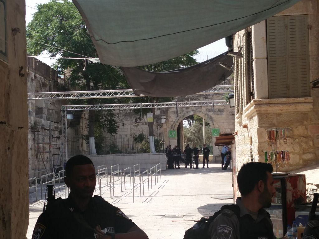 The entrance to the Temple Mount near Lion's Gate, on July 25, 2017, after the removal of metal detectors and security cameras. (Raoul Wootliff/Times of Israel)