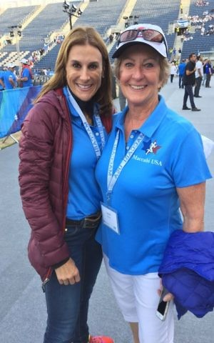 Dana and Jan Rivera are at the 2017 Maccabiah Games to see Dana Rivera's three sons play on the USA ice hockey team (Jessica Steinberg/Times of Israel)
