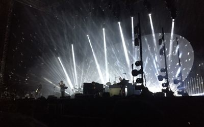 Radiohead plays in Tel Aviv's Yarkon Park on July 19, 2017 (J Horovitz / Times of Israel)