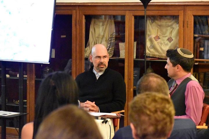 'Jerusalem Ablaze' author, Orlando Ortega-Medina at the West London Synagogue. (Clare Allen/Courtesy)