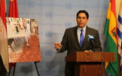 Israel ambassador Danny Danon speaks outside the UN Security Council meeting on tensions in Jerusalem, July 24 2917. (Courtesy)