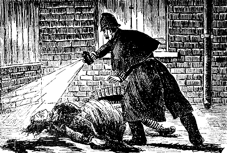 An artist's rendering of police finding Jack the Ripper's victim from an 1888 edition of The Illustrated Police News. (Public domain)
