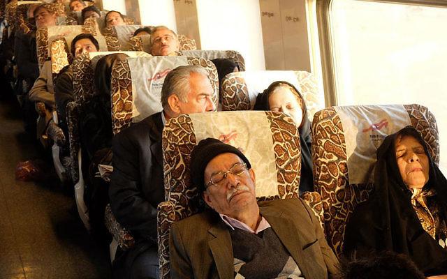 Illustrative photo of passengers on an Iranian train. (CC-BY: Franco Pecchio/Wikimedia)