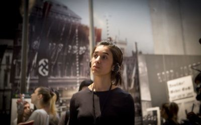 Nadia Murad, 24, a Yazidi woman who escaped Islamic State captivity, tours Yad Vashem in Jerusalem on July 24, 2017 (Mickey Noam-Alon/IsraAID)