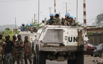 United Nations soldiers on the outskirts of Abidjan, Ivory Coast, April 9, 2011 (AP Photo/Rebecca Blackwell, File)