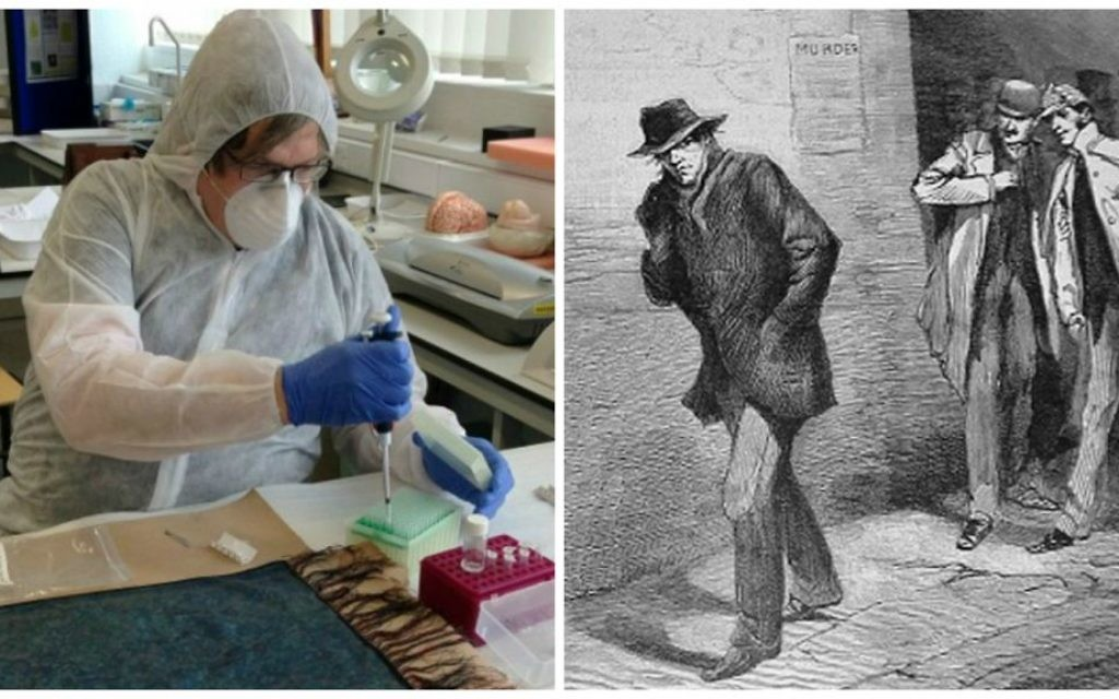 Left, Dr. Jari Louhelainen conducts DNA testing on a shawl found next to one of Jack the Ripper's victims. Right, a newspaper sketch from October 13, 1888 depicting Jack the Ripper. (photo credit: Jari Louhelainen/AFP; Public domain)