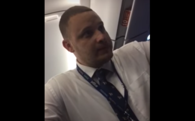 A screenshot from a video of an Israeli family being removed from a JetBlue flight to New York from Fort Lauderdale, Florida, on June 21, 2017. (Screen Capture: YouTube)