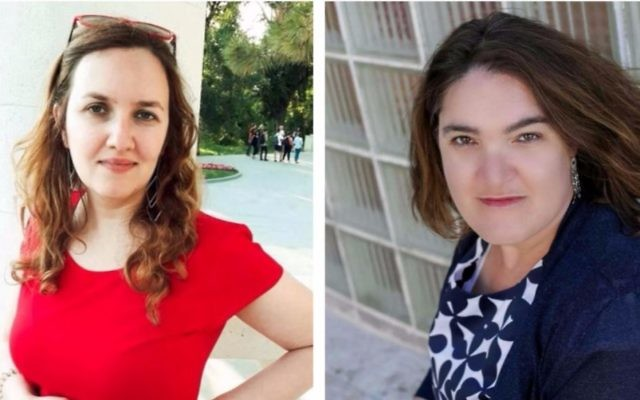 The Times of Israel writers Julie Masis (left) and Dina Weinstein won awards in 2017 for their work. (courtesy)