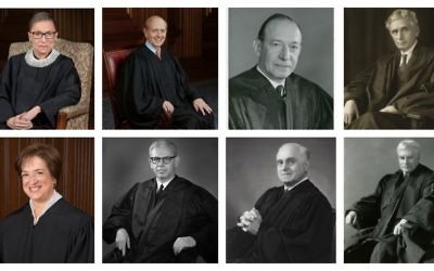 The eight Jewish Supreme Court Justices, clockwise from top left: Ruth Bader Ginsburg; Stephen Breyer; Abe Fortas; Louis Brandeis; Benjamin Cardozo; Felix Frankfurter; Arthur Goldberg; Elena Kagan. (Photos of Ginsburg, Breyer and Kagan by Steve Petteway, others by Harris & Ewing/ all from the Collection of the Supreme Court of the US)