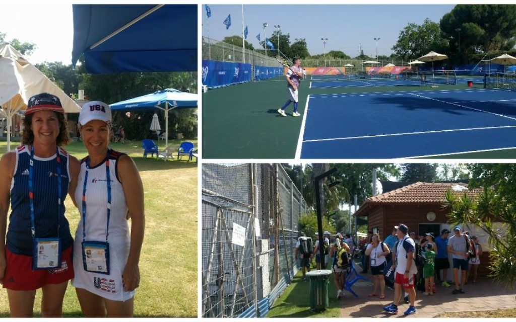 Clockwise from left: Marci Cohen, left, and Gina Jorasch 45 minutes before a match; a tennis player warms up at the Kfar Maccabiah facilities; athletes get ready to compete. (Yaakov Schwartz/Times of Israel)