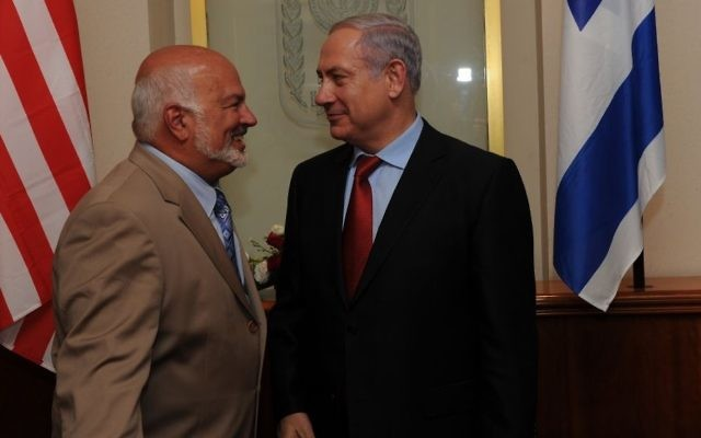 American pro-Israel fundraiser and philanthropist Isaac 'Ike' Fisher with Israeli Prime Minister Benjamin Netanyahu. (courtesy)