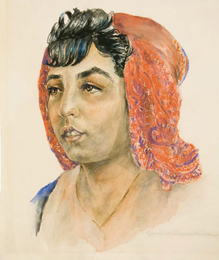 "A portrait of a young Roma woman, an inmate of the Nazi German death camp of Auschwitz, drawn by another inmate, Dina Gottliebova, a Jew from Czechoslovakia, on display at the ""Face to Face. Art in Auschwitz"" exhibition of art by inmates shown at the Szolayski house in Krakow, Poland, July 12, 2017 (Bartosz Bartyzel/Auschwitz Museum via AP)"