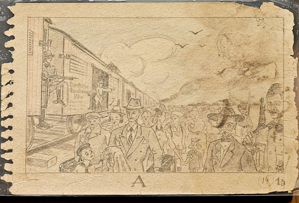 Reproduction of a pencil sketch by unknown inmate of the Nazi German death camp of Auschwitz showing the arrival of a transport of Jews, guarded by armed German soldiers. It is a page from the so-called Auschwitz Sketchbook that was found after World War II and is now on display at the 'Face to Face. Art in Auschwitz' exhibition of art by inmates shown at the Szolayski house in Krakow, Poland, July 12,2017. (Bartosz Bartyzel/Ayschwitz Museum)