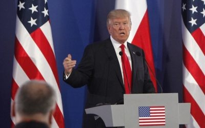 US President Donald Trump gestures while answering a question during a joint press conference with Poland's President Andrzej Duda, in Warsaw, Poland, Thursday, July 6, 2017. (AP Photo/Czarek Sokolowski)