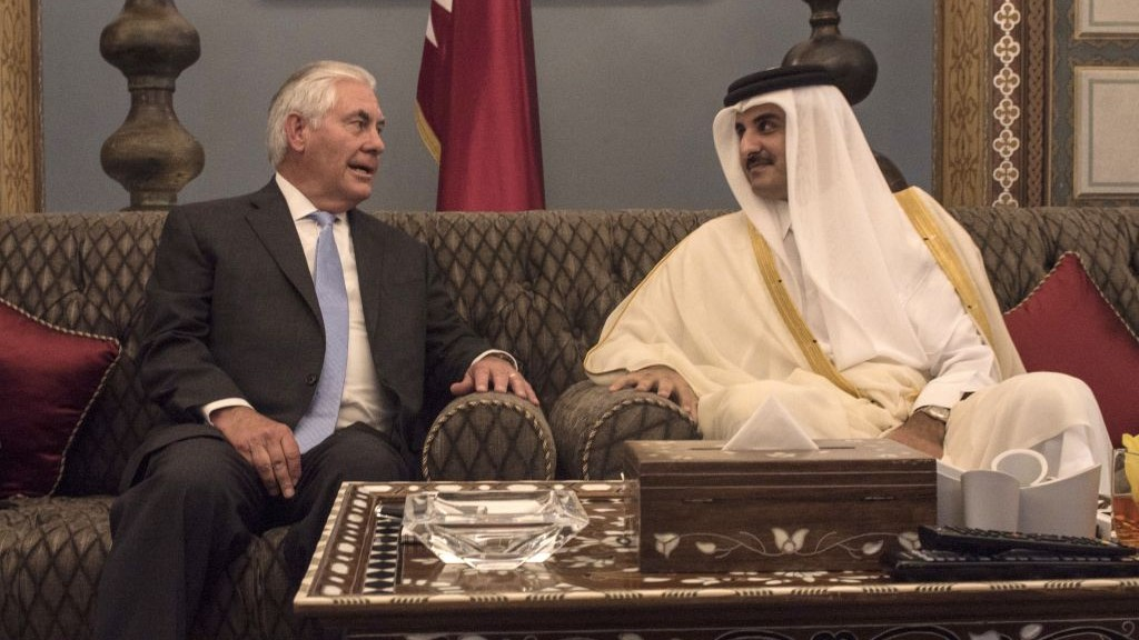 US Secretary of State Rex Tillerson meets with the Emir of Qatar, Sheikh Tamim Bin Hamad Al Thani at the Sea Palace, in Doha, Qatar, Tuesday, July 11, 2017. (Alexander W. Riedel/US State Department via AP)