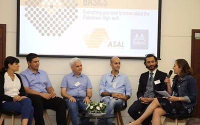 Representatives for Mellanox, Rawabi and ASAL discussed the prospects for Israeli and Palestinian tech partnerships, in Tel Aviv. 12  July 2017 (Courtesy)