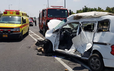 The scene of a deadly traffic accident on Route 70, July 17, 2017. (Magen David Adom)