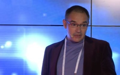Screen capture of Russian-language internet pioneer Anton Nosik, during a presentation in October 2011. (YouTube/TEDx Talks)