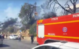 Illustrative: Firefighters battle a fire in the northern city of Safed on July 16, 2017. (Screen capture: YouTube)