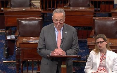 Screen capture from video of Democrat Senator Chuck Schumer, New York, during a speech to the Senate in which he said anti-Zionism is a form of anti-Semitism. (YouTube/SenatorSchumer)