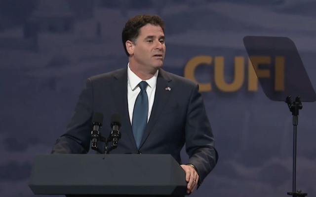 Israel's Ambassador to the United States Ron Dermer addresses the Christian's United for Israel's annual convention at the Washington Convention Center on July 17, 2017 (screen capture)