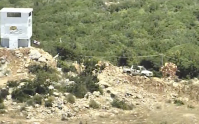 A truck that apparently drove from a Hezbollah terrorist base to a watchtower owned by the environmental group 'Green Without Borders' in southern Lebanon, from a video released by the IDF on July 18, 2017. (Screen capture/IDF Spokesperson's Unit)