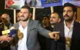 Illustrative: Kürşat Mican speaking to reporters at a protest at the Neve Shalom synagogue in Istanbul, Turkey. (Kürşat Mican/Instagram, via JTA)