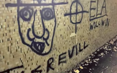 Graffiti found in the English county of Sussex November. 2016 (Screen capture: YouTube)