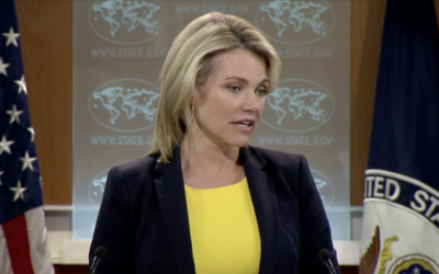 US State Department Spokeswoman Heather Nauert speaks to reporters during a press conference in Washington, D.C. on July 27, 2017 (screen capture)