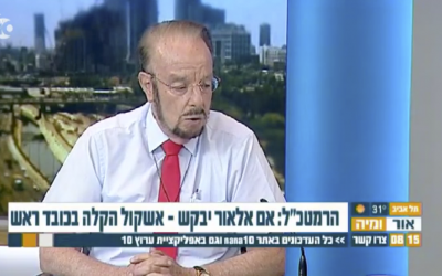 Attorney Yoram Sheftel appears on a Channel 10 morning show after he lost an appeal for a soldier convicted of manslaughter for killing a disarmed, incapacitated Palestinian assailant, on July 31, 2017. (Screen capture)