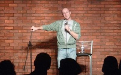 Comedian and blogger Benji Lovitt live on stage. (Courtesy)