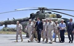 Syrian President Bashar Assad inspects the Russian Hmeimim air base in the province of Latakia, Syria, June 27, 2017 (Syrian Presidency via AP, File)