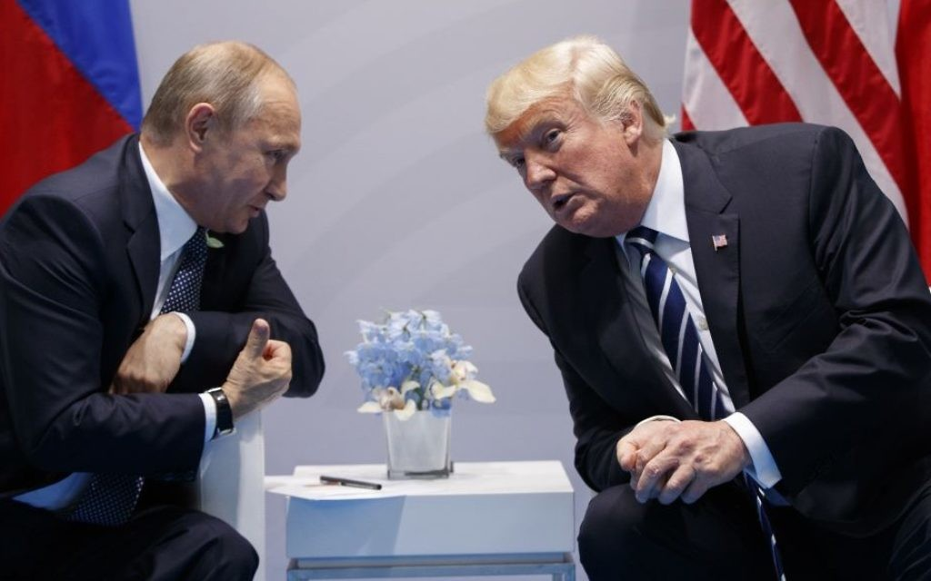 President Donald Trump speaks during a meeting with Russian President Vladimir Putin at the G20 Summit at the G20 Summit, Friday, July 7, 2017, in Hamburg. (AP/Evan Vucci)