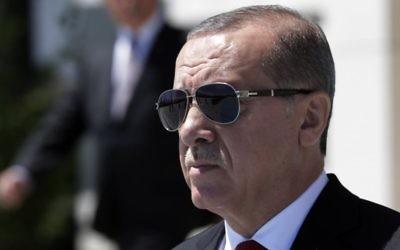 Turkey's President Recep Tayyip Erdogan in Ankara, Turkey, Thursday, Juy 6, 2017. (AP/Burhan Ozbilici)