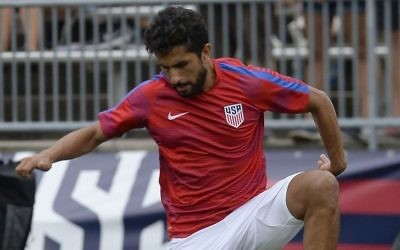 In this July 1, 2017, file photo, United States' Kenny Saief is shown in action during an international friendly soccer match against Ghana at Pratt & Whitney Stadium at Rentschler Field, in East Hartford, Conn. S (AP Photo/Jessica Hill)