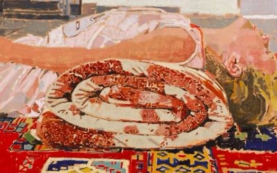 One of Fatma Shanan's iconic paintings, featuring the ever-present rug, rolled up and serving as the pillow for her niece (Courtesy Fatma Shanan)