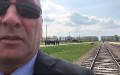 Clay Higgins in a clip he filmed in Auschwitz, posted on YouTube. (Screen capture)
