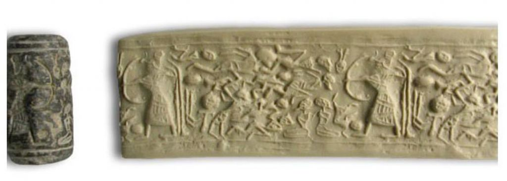 A cylinder seal depicts the Levantine god Reshef with a gazelle head) draws a large bow towards 12 enemies and two kneeling bound captives. Tandy Institute for Archaeology)