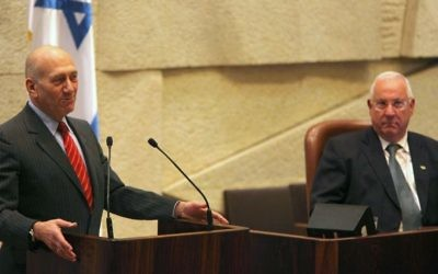 Then-prime minister Ehud Olmert speaks during the appointment of Reuven Rivlin as Knesset speaker, March 30, 2009. (Kobi Gideon/Flash 90)
