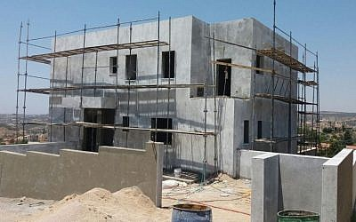 One of the five buildings in the Shaavei Tikva settlement that is reportedly being built on Area B. (Courtesy: Dror Etkes)