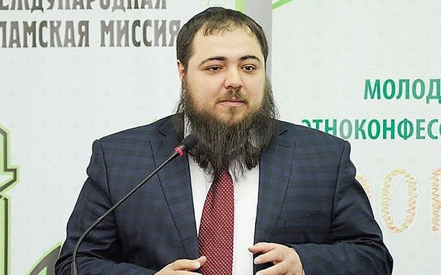Mosei Yunayev speaking at the International Islamic Mission Forum in Makhachkala, Russia, March 22, 2017. (Courtesy of the International Islamic Mission)