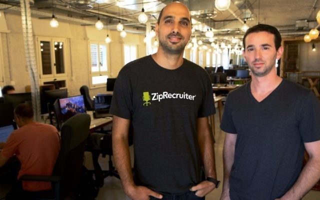 ZipRecruiter's Avi Golan, left, and Yaniv Shalev (Micah Dannay/The Times of Israel)