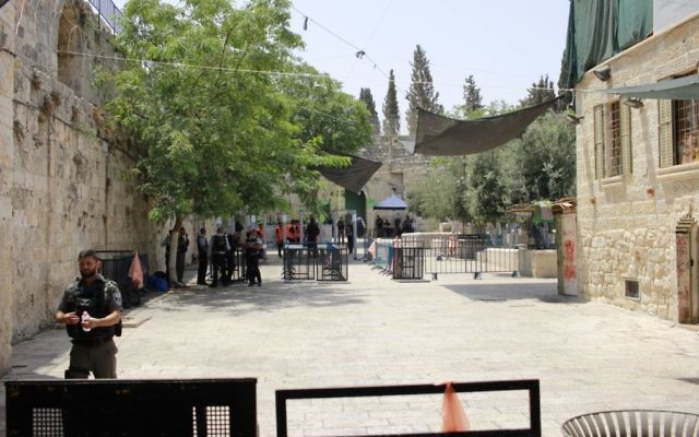 Metal detectors set up by police leading into the Temple Mount in the Old City of Jerusalem, July 21, 2017. (Judah Ari Gross/Times of Israel)