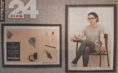 Detail of a Yedioth Ahronoth magazine cover showing student Rotem Bides, 27, and some of the artifacts she stole from Auschwitz (Times of Israel)