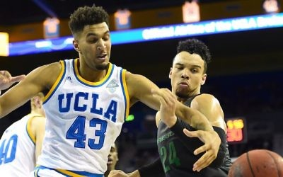 Jonah Bolden, #43, playing for the UCLA against the Oregon Ducks at Pauley Pavilion in Los Angeles, March 2, 2016. (Harry How/Getty Images)