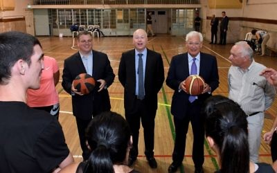 US Middle East peace envoy Jason Greenblatt (C) and US Ambassador David Friedman (to his right) meet with Israeli and Palestinian basketball coaches in Jerusalem, July 11, 2017.  (Matty Stern/US Embassy, Tel Aviv)