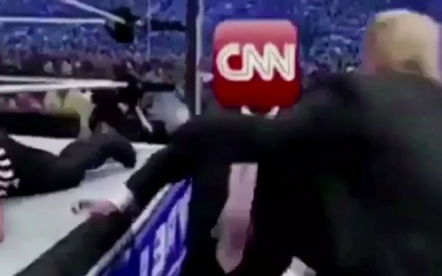 In video tweeted by the US president on July 2, 2017, Donald Trump appears to attack the CNN news network. (Screen capture: Twitter)