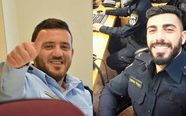 Master Sgt. Kamil Shnaan, left, and Master Sgt. Haiel Sitawe, right, the police officers killed in the terror attack next to the Temple Mount complex in Jerusalem on July 14, 2017. (Israel Police)