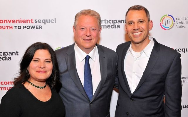Al Gore, center, with filmmaking couple Bonni Cohen and Jon Shenk at the San Francisco Jewish Film Festival on July 24, 2017. The duo produced a documentary follow up 'An Inconvenient Sequel,' to Gore's Oscar-winning first film on climate change. (Courtesy SJFF)